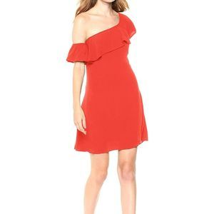 ASTR Hot Red One Shoulder Ruffle Mini Dress
